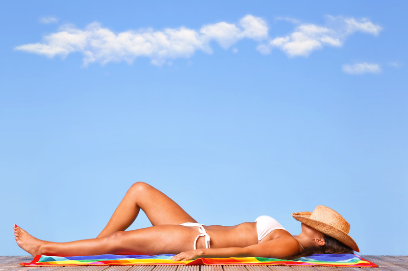 woman sunbathing relaxing